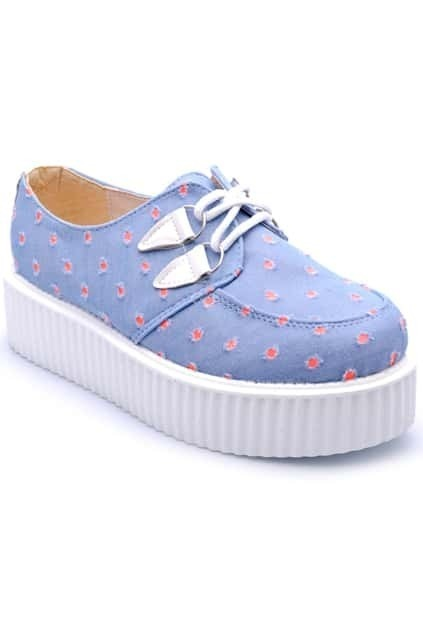 Red Round Dot Denim Platform Shoes