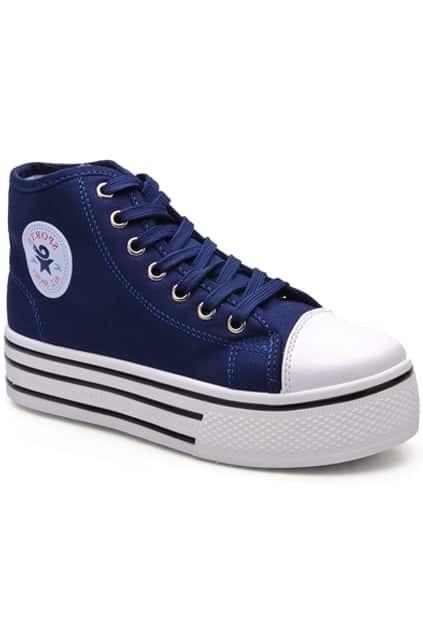 Dark Blue High-top Canvas Shoes
