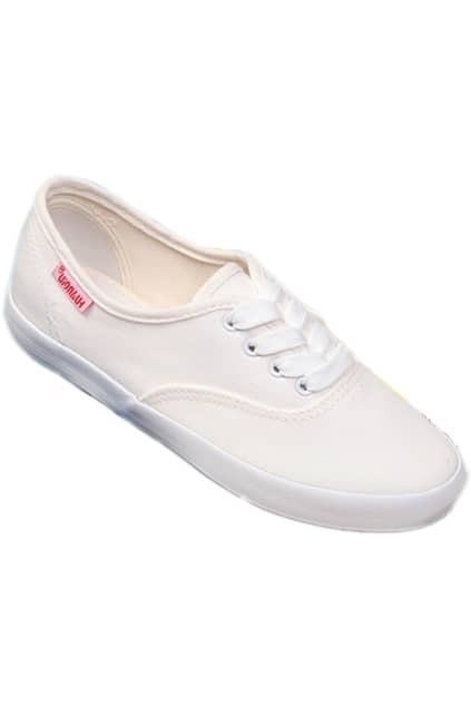 Female White Shallow Lace-up Canvas Shoes
