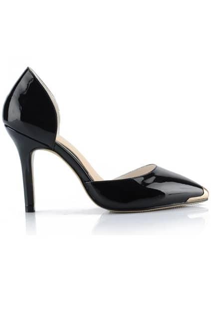 Metal Pointed Shiny Black High Heels