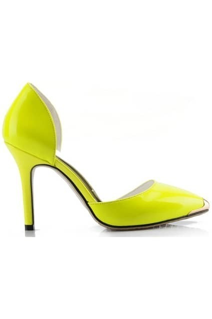 Metal Pointed Shiny Yellow High Heels