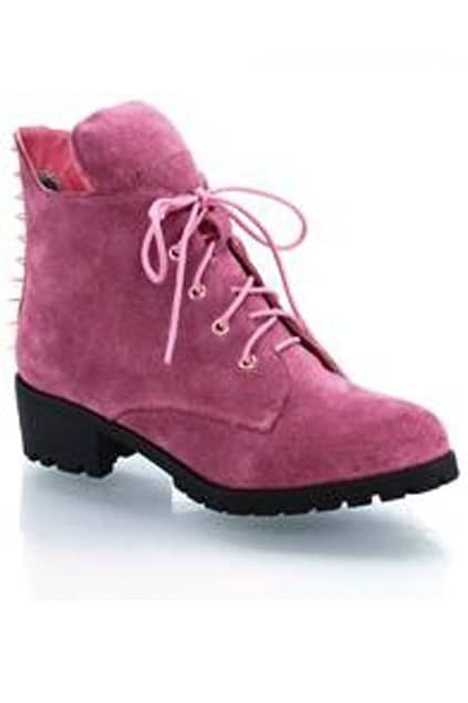 Tied Riveted Pink Ankle Boots