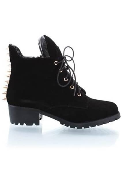 Tied Riveted Black Ankle Boots