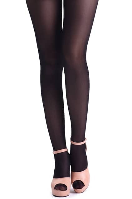 Vertical Thigh Black Tights