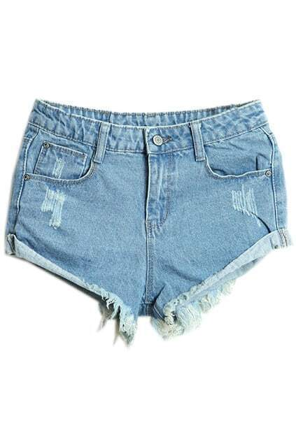 Rolled-up Distressed Light Blue Shorts