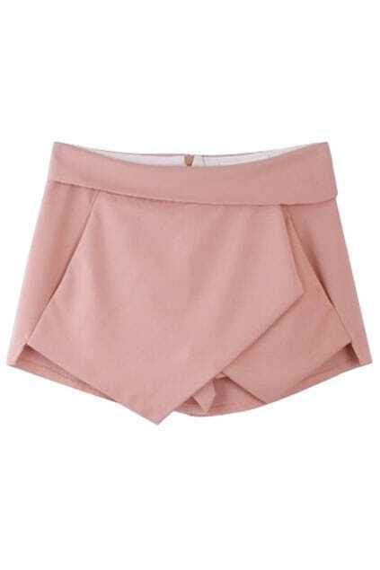 Asymmetric Geometric Pink Shorts