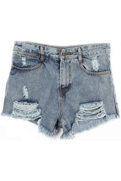 Ripped Zippered Denim Shorts