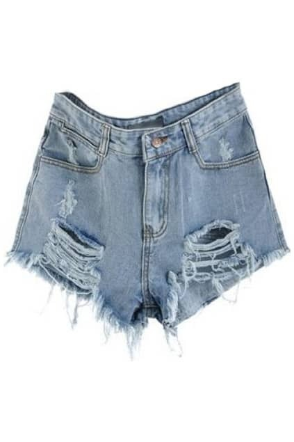 ROMWE Distressed Light Blue Denim Shorts