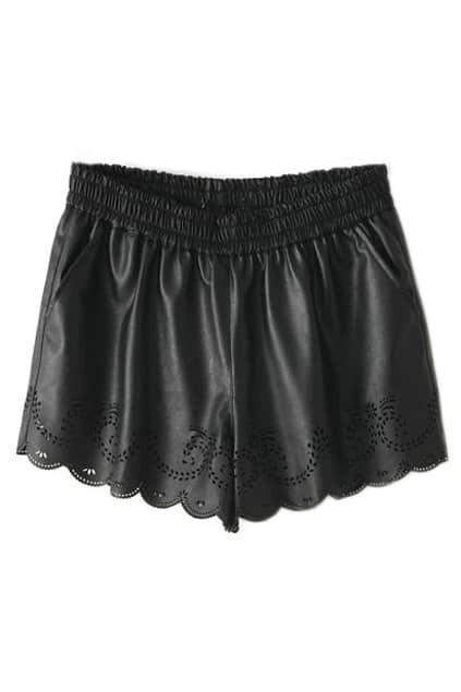 ROMWE Cut-out Crochet Black Faux Fur Shorts