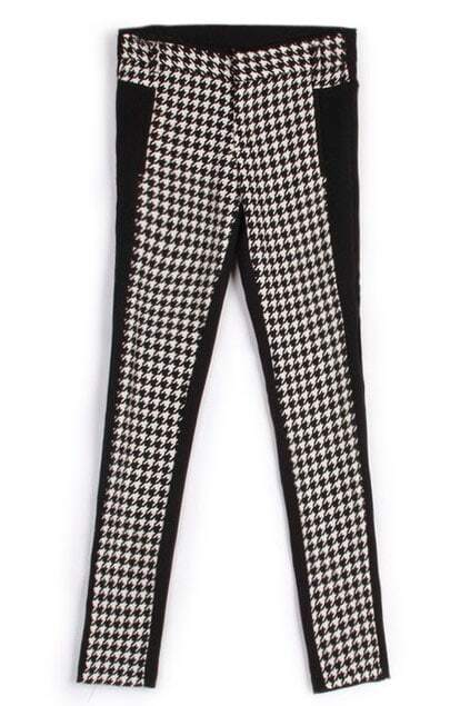 ROMWE Plaid Print Color Block Pants