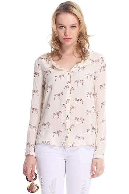 Zebra Print Asymmetric Shirt