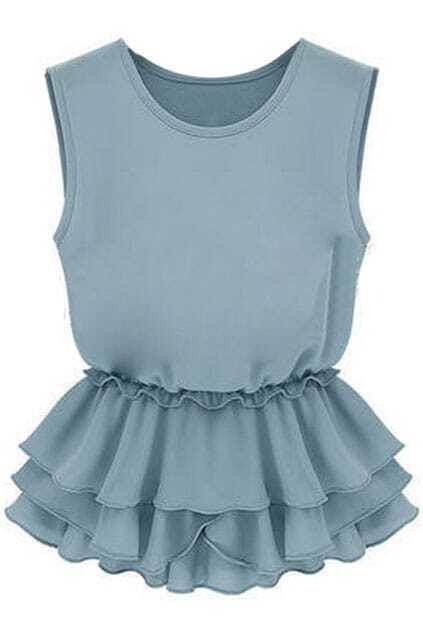 Flouncing Pleated Blue Blouse