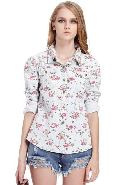 Floral Print Pocketed Light Blue Shirt