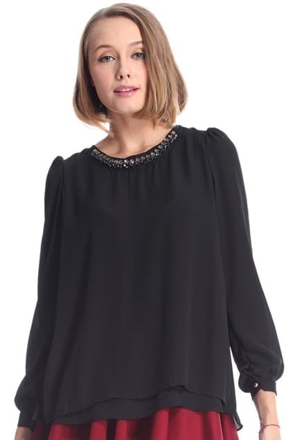 Diamante Buttoned Pleated Black Blouse