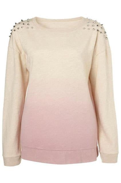 Riveted Color Block Pink Sweatshirt