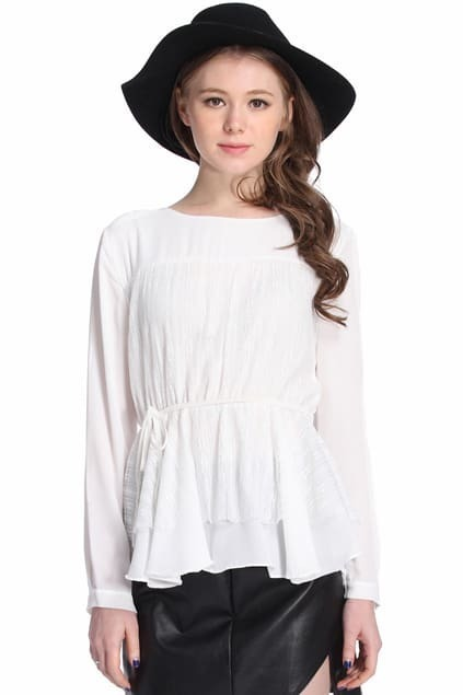 Lace Flouncing Pleated Cream Blouse