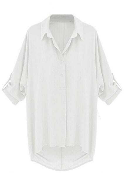 Lapel Asymmetric White Shirt