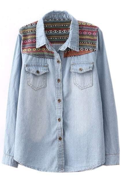 Nation Wind Embroideried Light-blue Shirt