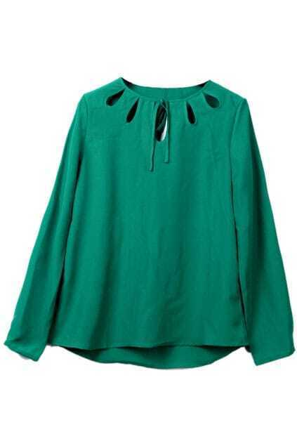 Hollow Self-tied Green Blouse