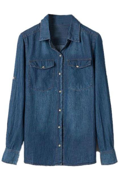 Fake Pockets Denim Blue Shirt