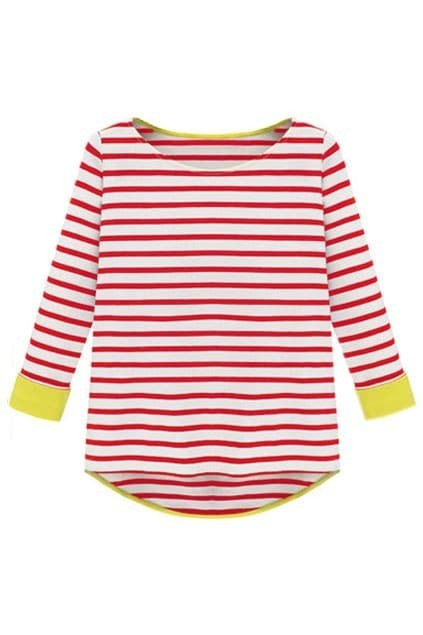 Long Sleeve Red Striped Dipped Hem Blouse
