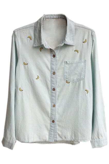 Banana Embroidered Light-blue Shirt
