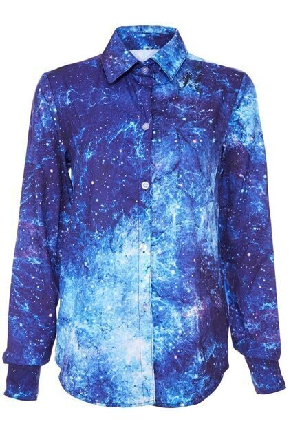 ROMWE Galaxy Print Blue Shirt