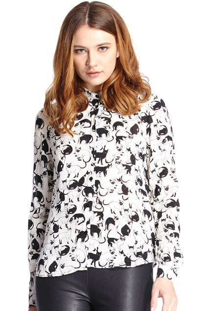 ROMWE Cats Print Riveted Long Sleeves White Shirt