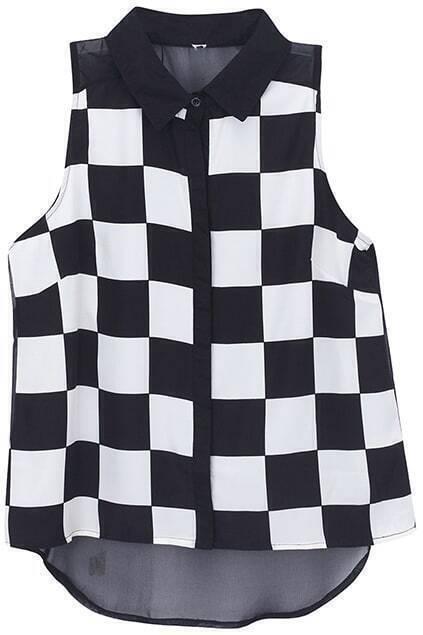 Dual-tone Asymmetric Checkerboard Shirt