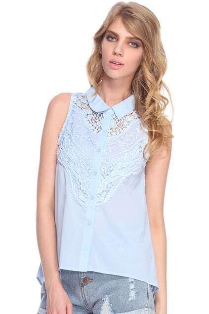 Asymmetric Hollow Blue Shirt