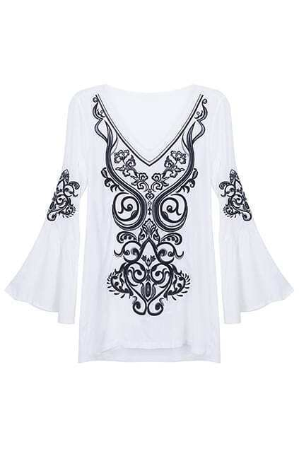 Flare Sleeve White Embroidery Blouse