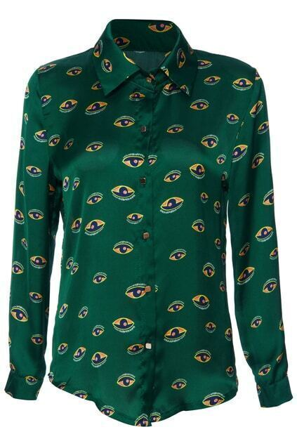 Green Eyes  Print Long Sleeve Shirt