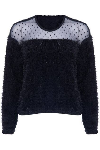 ROMWE Mesh Seamed Fluffy Long-sleeved Black Blouse