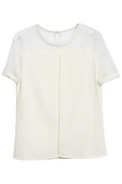 Hollow-out Dual-tone White Blouse