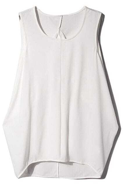 Asymmetric Dual-tone White Blouse