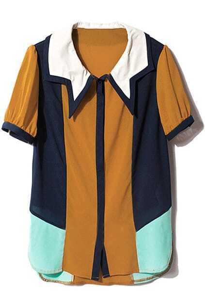 Asymmetric Color Stitching Shirt