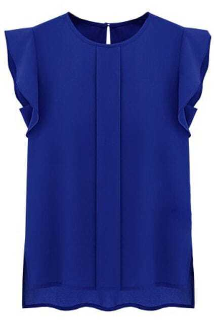 Flouncing Sleeves Asymmetric Blue Shirt