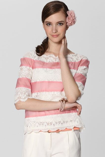 Fine Stripe Lace White-pink Blouse