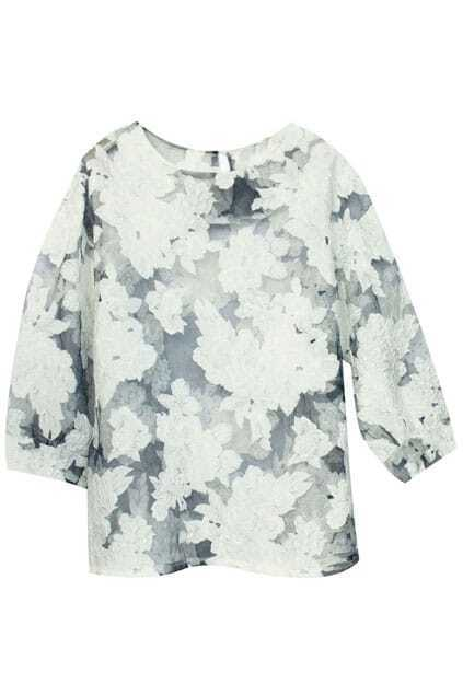 Cut-out Stereo Flower Print Blouse