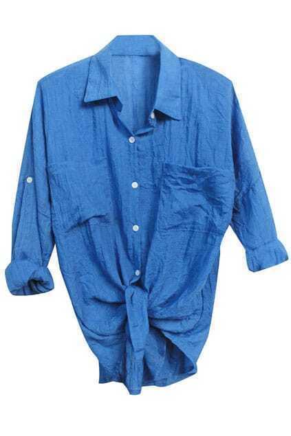 Self-tied Blue Shirt