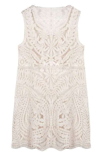 Sleeveless Hollow Lace Apricot Tank Dress