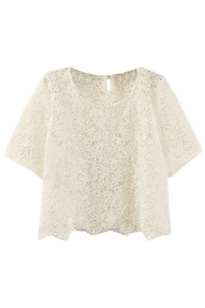 Lace Floral Embroidered Cream Blouse