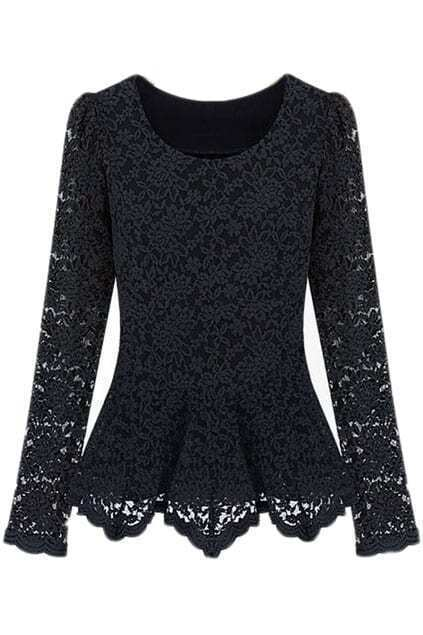 Ruffles Embroidered Lace Black Blouse