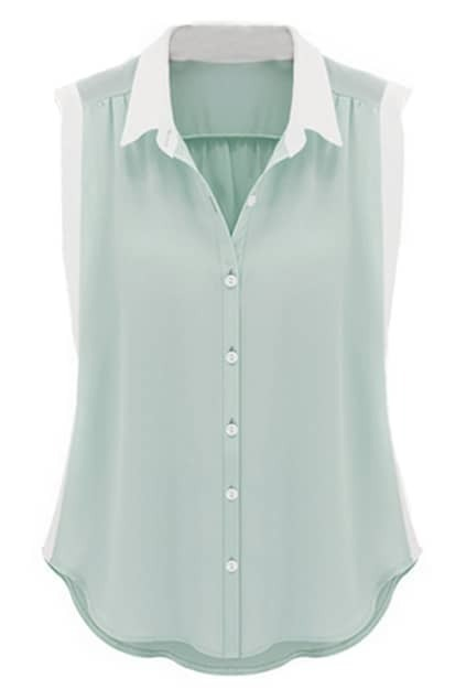 Dual-tone Buttoned Loose Light-blue Blouse