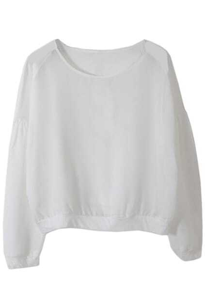 Batwing Sleeves Mesh Panel White Blouse