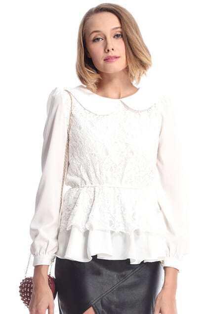 Controlled Waist Chiffon Montage Lace White Blouse