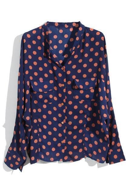 Polka Dots Print Blue Shirt