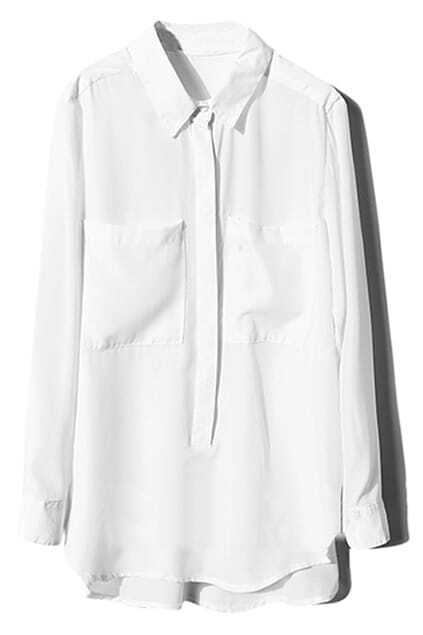 Buttoned Pocketed White Loose Blouse