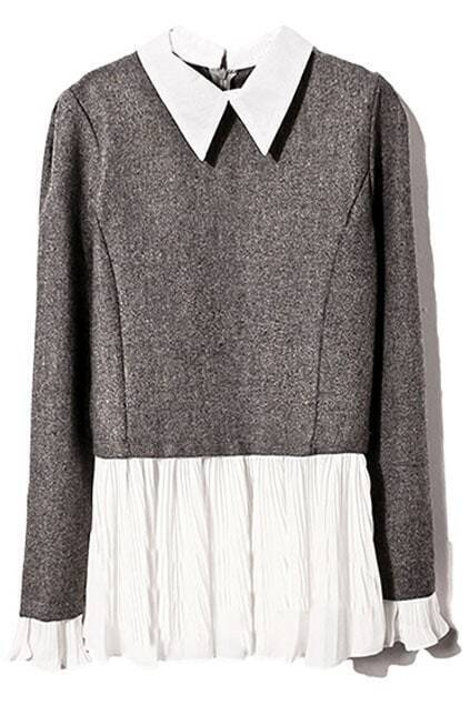 Color Block Pleated Grey Blouse