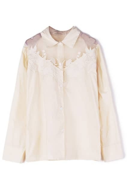 ROMWE Lace Petals Transparent Beige Shirt